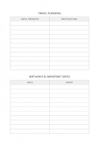Paperblanks 2015 Planner Supplemental Pages - Travel Planning & Birthdays & Important Dates Memo Page