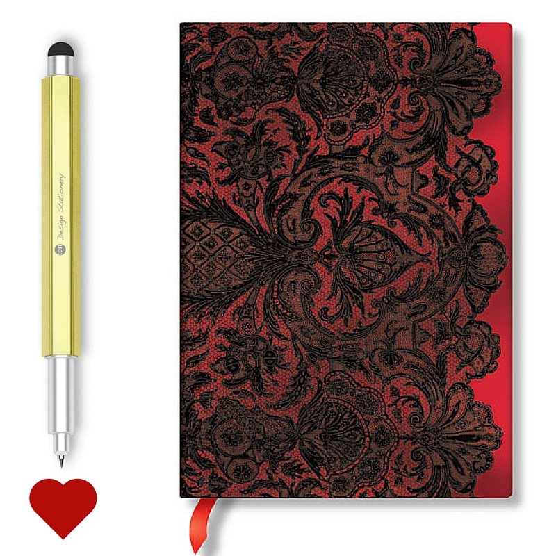 Hello Ten Design Rollerball Pen Meet the Paperblanks Lace Journal