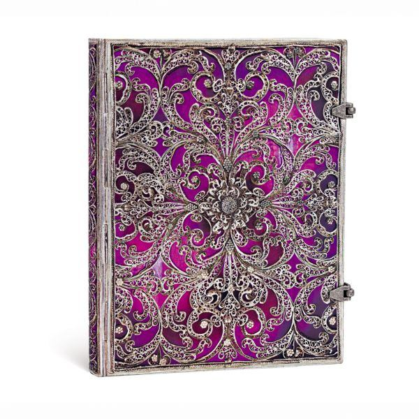 "Paperblanks Silver Filigree Aubergine 7"" x 9"" Journal"