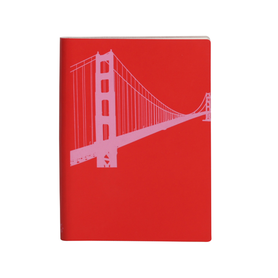 Paperthinks Large Slim Notebook Golden Gate Bridge Poppy Red