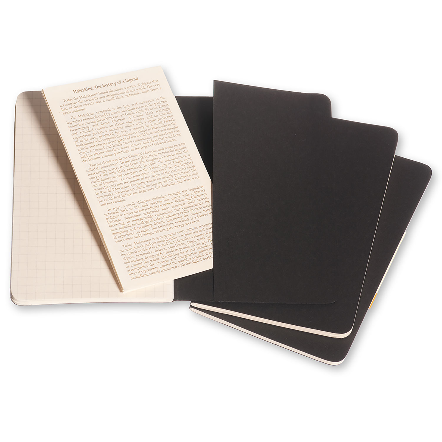 Moleskine Cahier Pocket Squared Black Cover (set of 3)