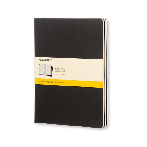 Moleskine Cahier XL Squared Black Cover (set of 3)