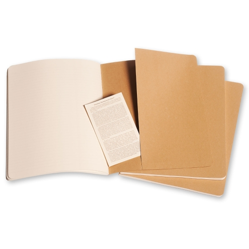 Moleskine Cahier XL Ruled Kraft Cover (set of 3)