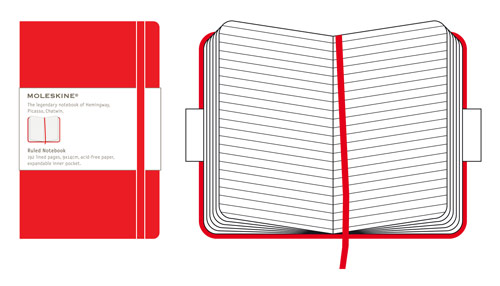 Moleskine Classic Pocket Ruled Hard Cover Red