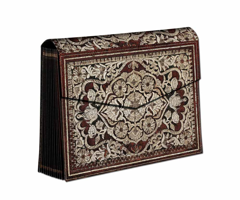"Paperblanks Stitched Splendour 13""x9-1/2"" Rosa Accordian Box"