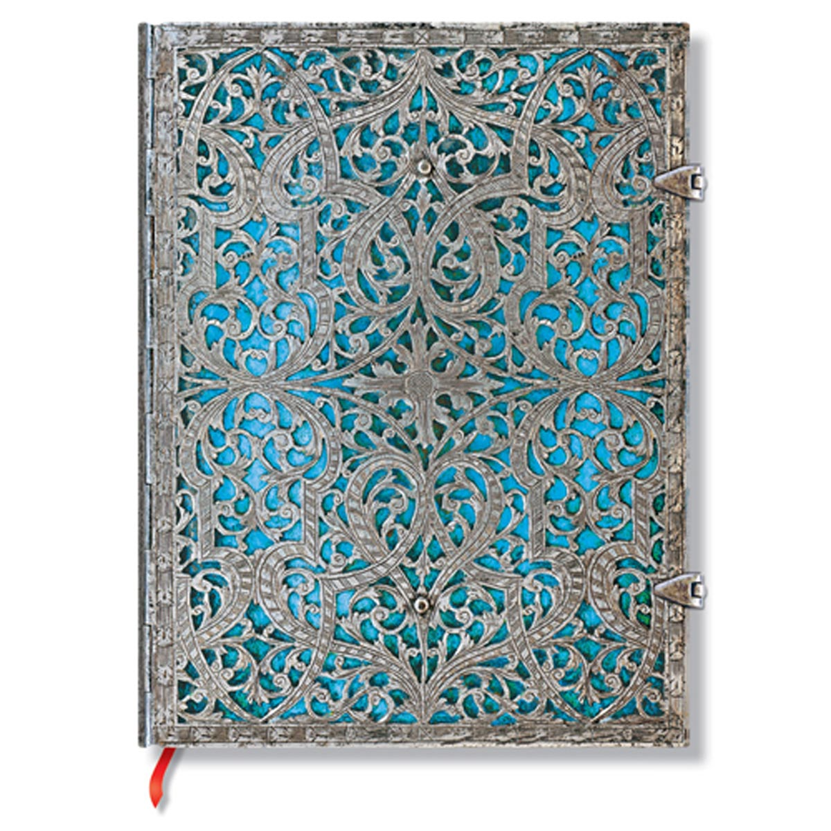 Paperblanks Silver Filigree Maya Blue 7x9 In Ultra lined Journal