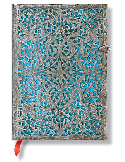 Paperblanks Silver Filigree Maya Blue 5 x 7 Inch Midi Journal
