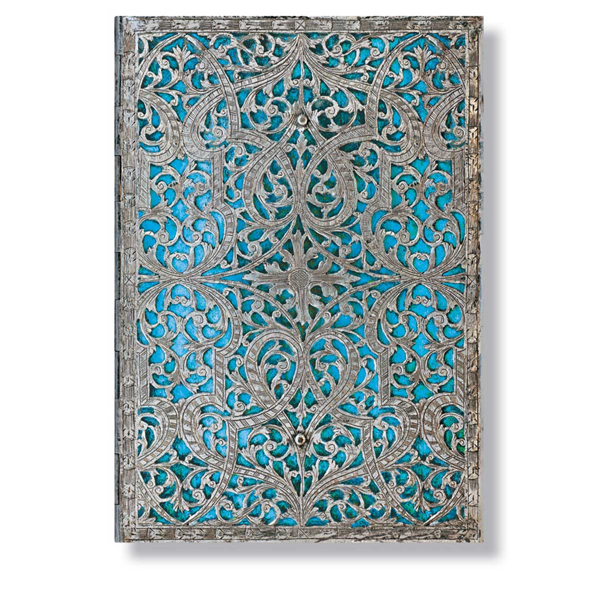 Paperblanks Silver Filigree Maya Blue 5x7 Inch Midi Address