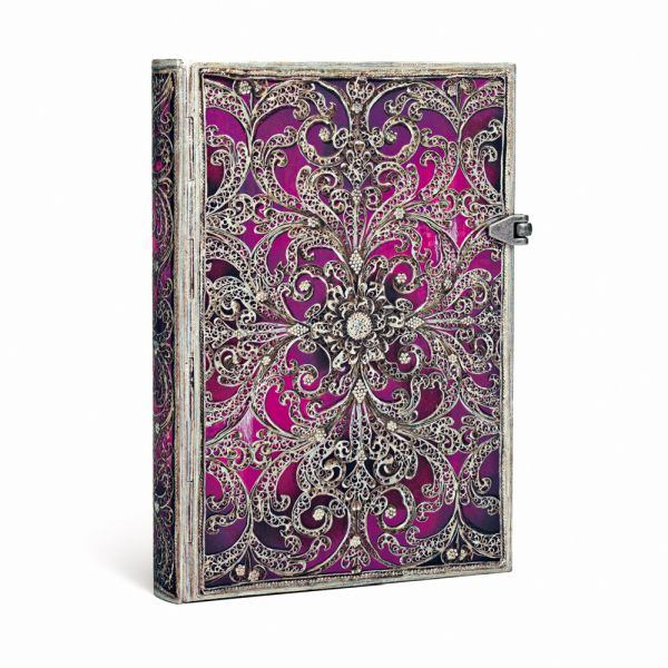 Paperblanks Midi, Silver Filigree Aubergine 5 x 7 Inch Journal