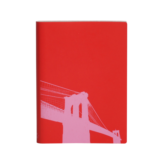 Paperthinks Large Slim Notebook Brooklyn Bridge Poppy Red