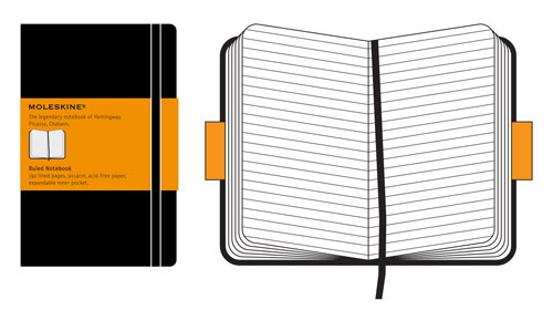 Moleskine Classic Pocket Ruled Notebook Hard Cover Black
