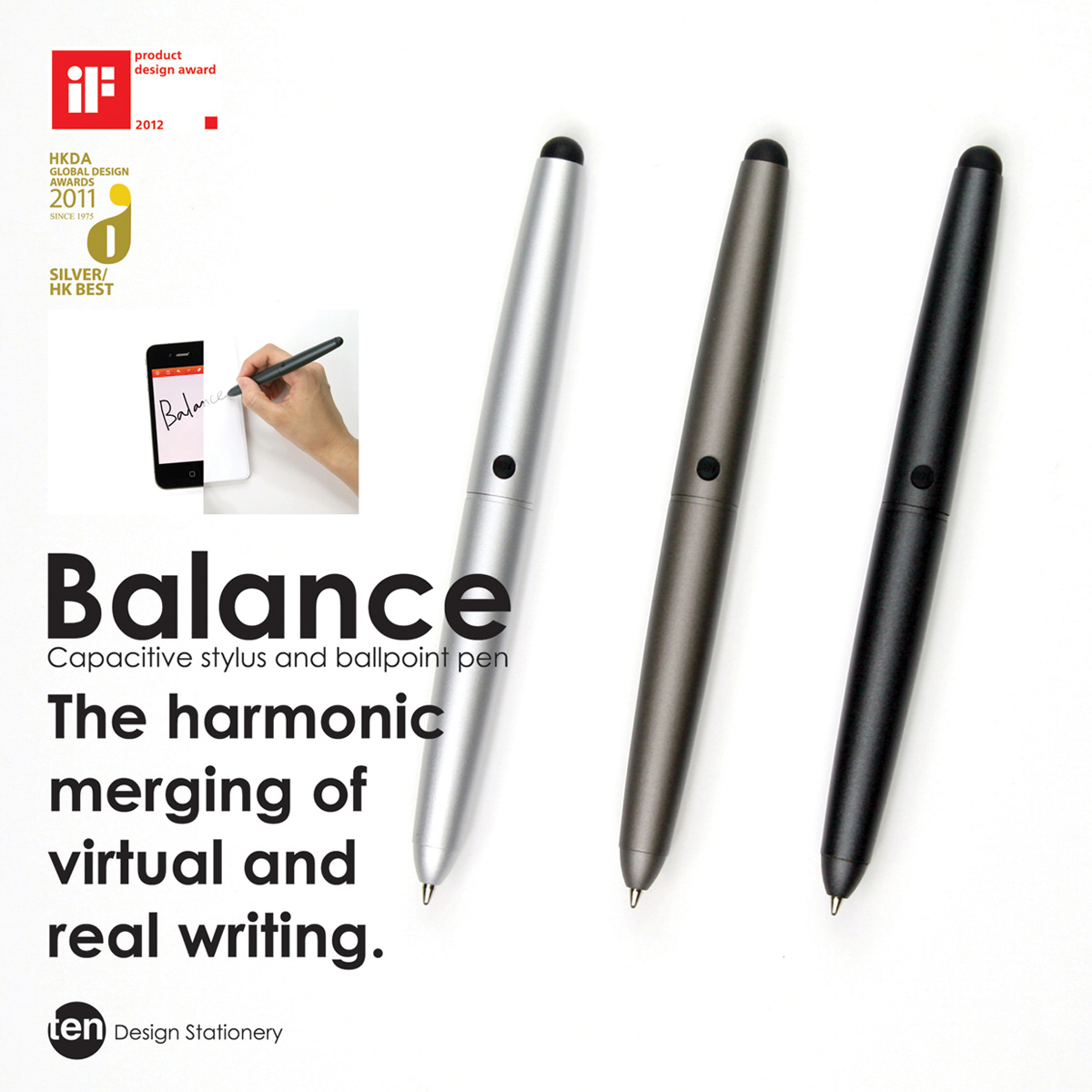Ten Design Balance Ballpoint and Stylus Gun Metal