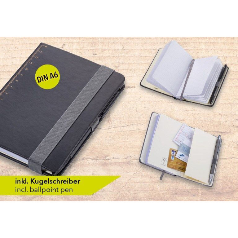 Troika A6 Notebook with Slim Construction Pen Black Gold