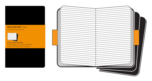 Moleskine Cahier Pocket Ruled Black X 3!
