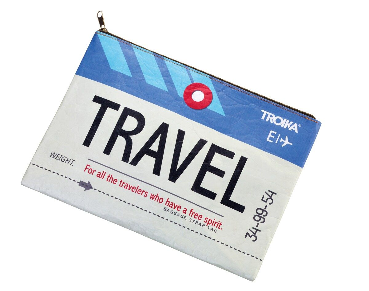 Troika Tyvek A4 Zipper Pouch with Travel Graphics